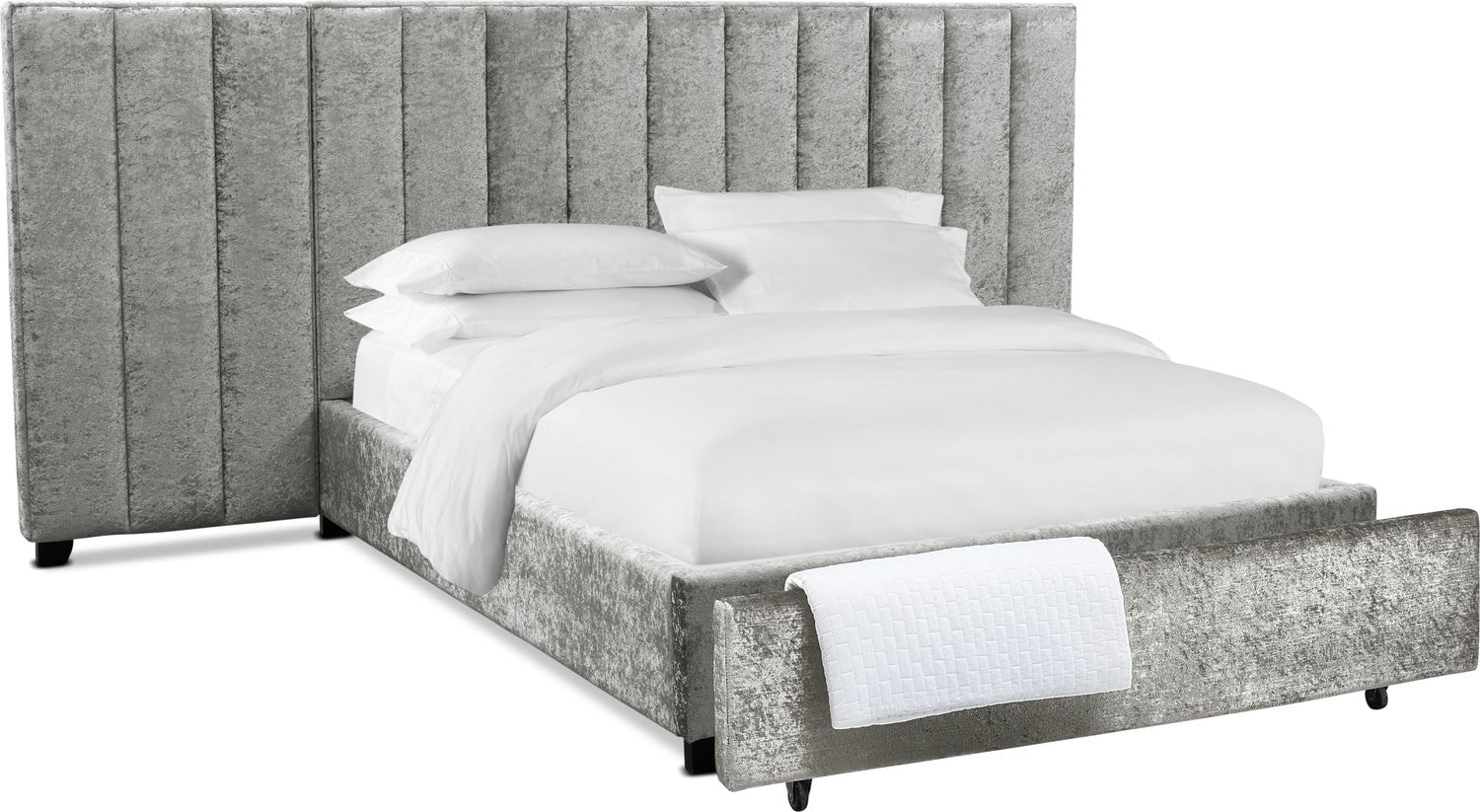 Bedroom Furniture - Kiera Upholstered Channel Wall Storage Bed