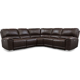 Gallant 5-Piece Dual-Power Reclining Sectional with 3 Reclining Seats - Chocolate