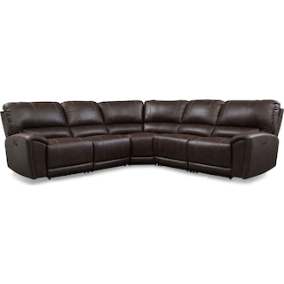 Gallant 5-Piece Manual Reclining Sectional with 3 Reclining Seats - Chocolate