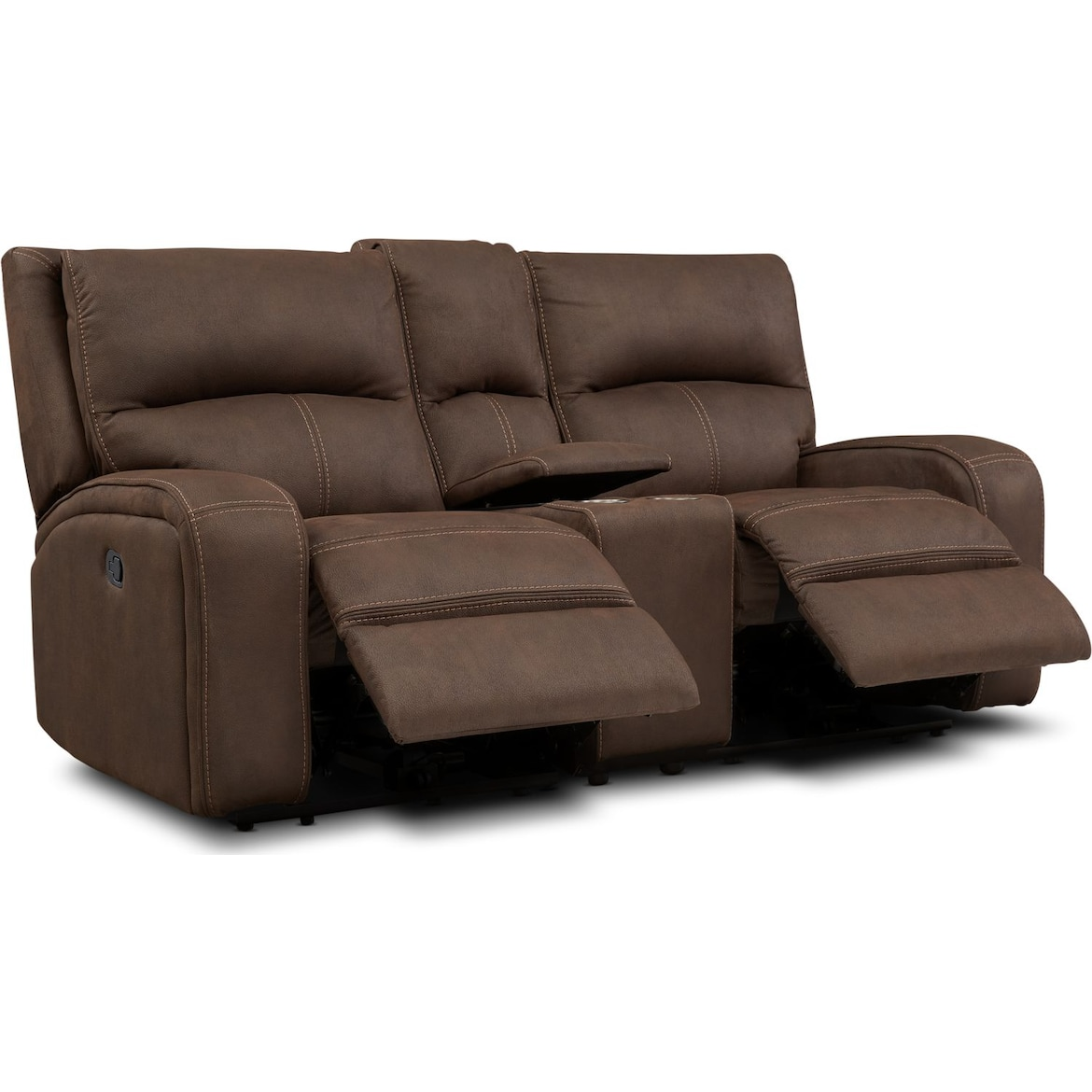 Burke Manual Reclining Sofa Loveseat With Console And