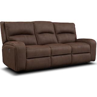 Burke Dual Power Reclining Sofa - Brown