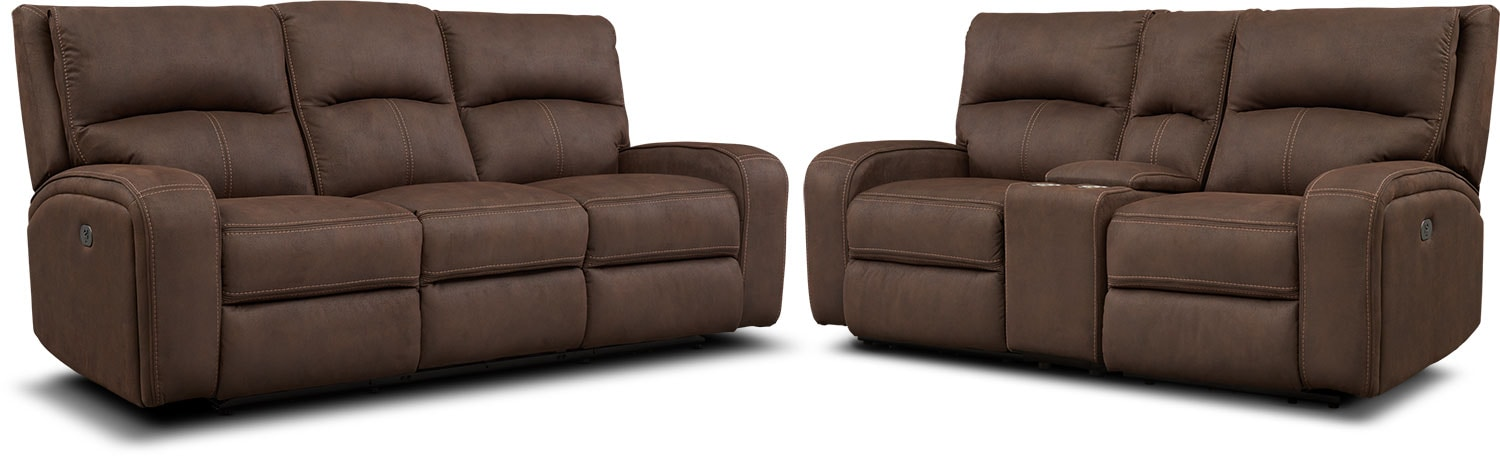 Living Room Furniture - Burke Dual-Power Reclining Sofa and Loveseat with Console