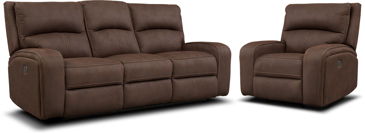 Living Room Furniture - Burke Dual-Power Reclining Sofa and Recliner Set