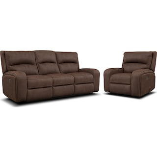 Burke Dual-Power Reclining Sofa and Recliner Set