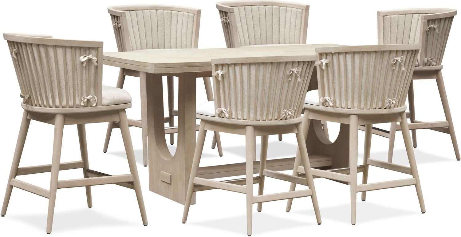 Dining Room Furniture - Lily Counter-Height Dining Table and 6 Stools
