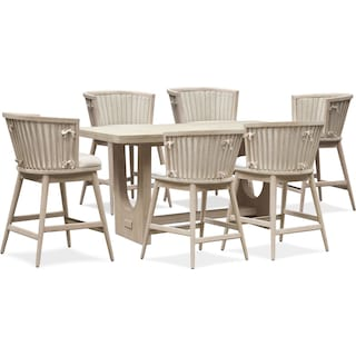 Lily Counter-Height Dining Table with 6 Stools