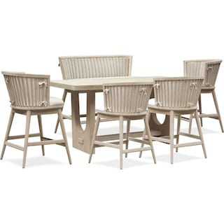 Lily Counter-Height Dining Table with Bench and 4 Stools