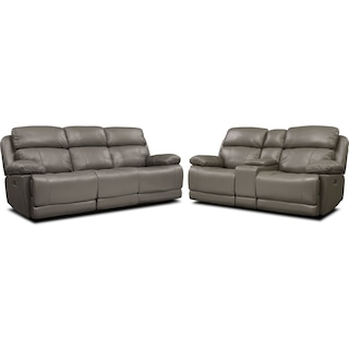 Monte Carlo Dual-Power Reclining Sofa and Loveseat Set - Gray