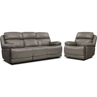 Monte Carlo Dual-Power Reclining Sofa and Recliner Set - Gray