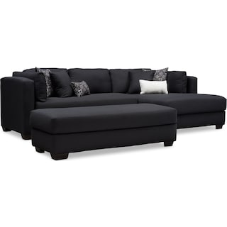 Rosalyn 2-Piece Sectional with Chaise and Ottoman - Black