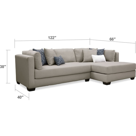 Living Room Furniture - Rosalyn 2-Piece Sectional with Chaise and Ottoman
