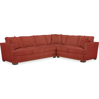 Arden Comfort 2-Piece Large Sectional with Left-Facing Sofa - Modern Velvet Cayenne