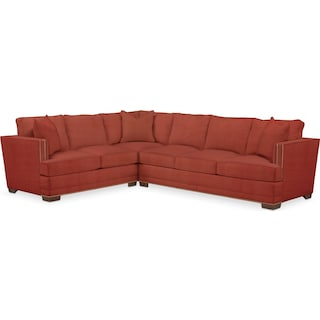 Arden Comfort 2-Piece Large Sectional with Right-Facing Sofa - Modern Velvet Cayenne
