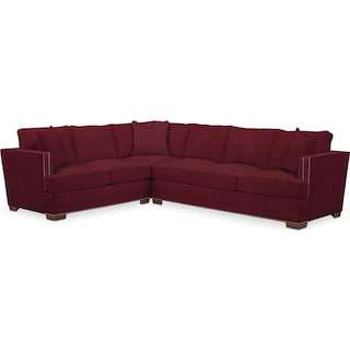 Arden Comfort 2-Piece Large Sectional with Right-Facing Sofa - Modern Velvet Wine