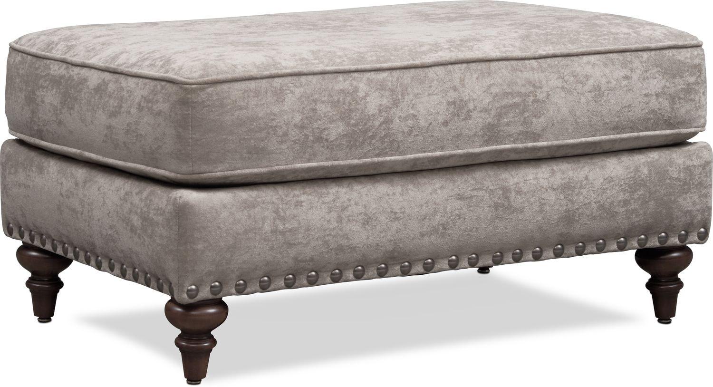 Living Room Furniture - London Ottoman - Gray
