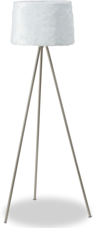Home Accessories - White Fur Floor Lamp
