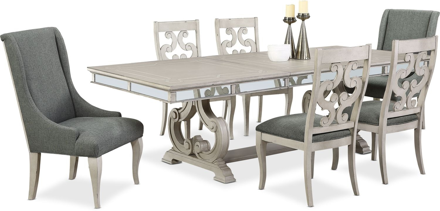 Dining Room Furniture - Athena Dining Table, 4 Dining Chairs and 2 Host Chairs