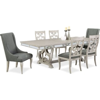 Athena Dining Table with 4 Side Chairs and 2 Host Chairs
