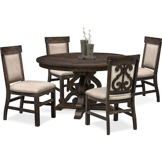 Charthouse Round Dining Table and 4 Upholstered Dining Chairs - Charcoal