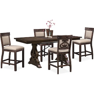 Charthouse Counter-Height Dining Table and 4 Upholstered Stools - Charcoal
