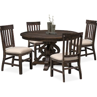 Charthouse Round Dining Table and 4 Dining Chairs - Charcoal