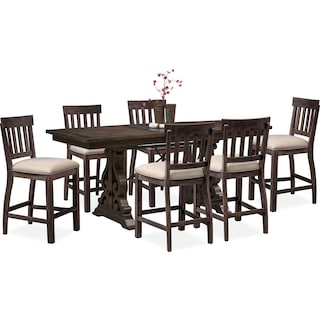 Charthouse Counter-Height Dining Table and 6 Stools - Charcoal