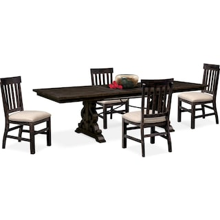 Charthouse Rectangular Dining Table and 4 Dining Chairs - Charcoal