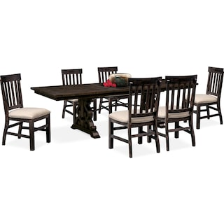 Charthouse Rectangular Dining Table and 6 Dining Chairs - Charcoal