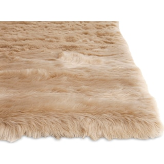 Faux Mink Fur Area Rug - Tan