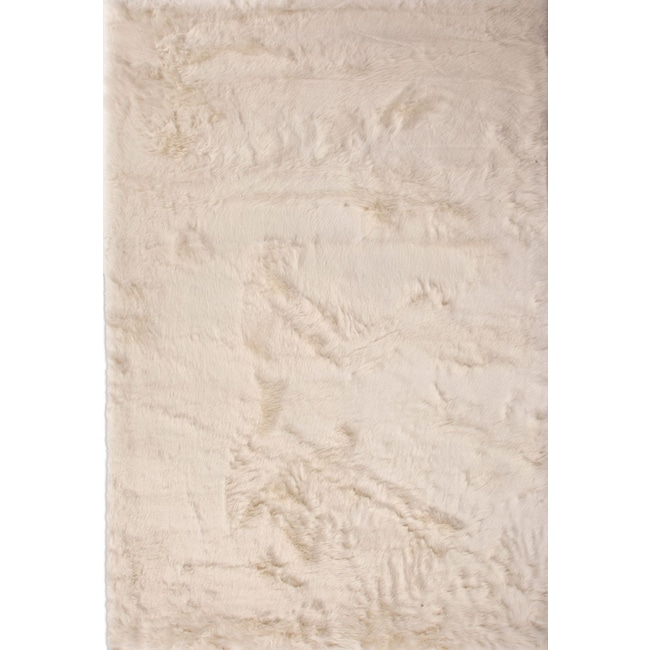 Rugs - Faux Mink Fur Area Rug - Ivory