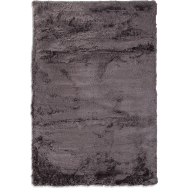 Rugs - Faux Mink Fur Area Rug - Charcoal