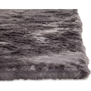Faux Mink Fur Area Rug - Charcoal