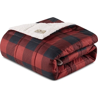 Acadia Plaid Sherpa Throw - Red