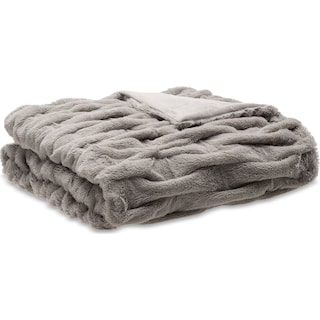 Blaire Faux Fur Throw - Gray