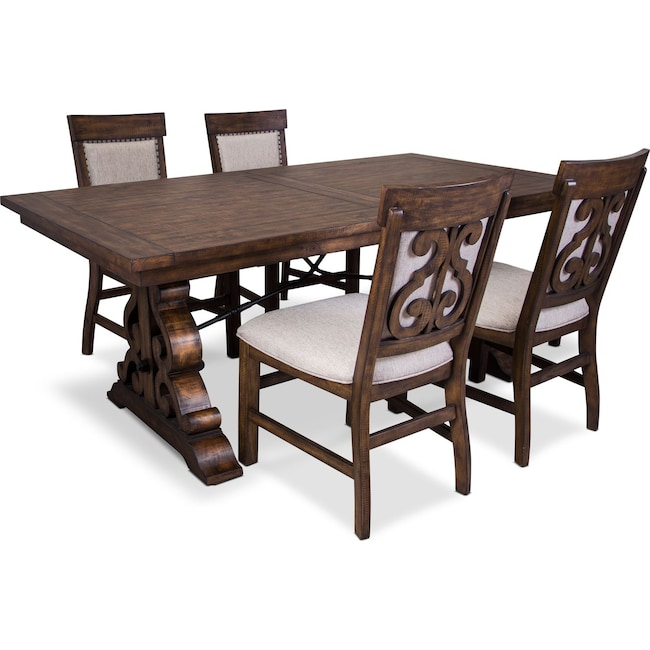 Dining Room Furniture - Charthouse Rectangular Dining Table and 4 Upholstered Side Chairs