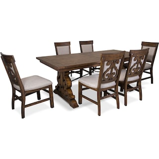 Charthouse Rectangular Dining Table and 6 Upholstered Dining Chairs - Nutmeg