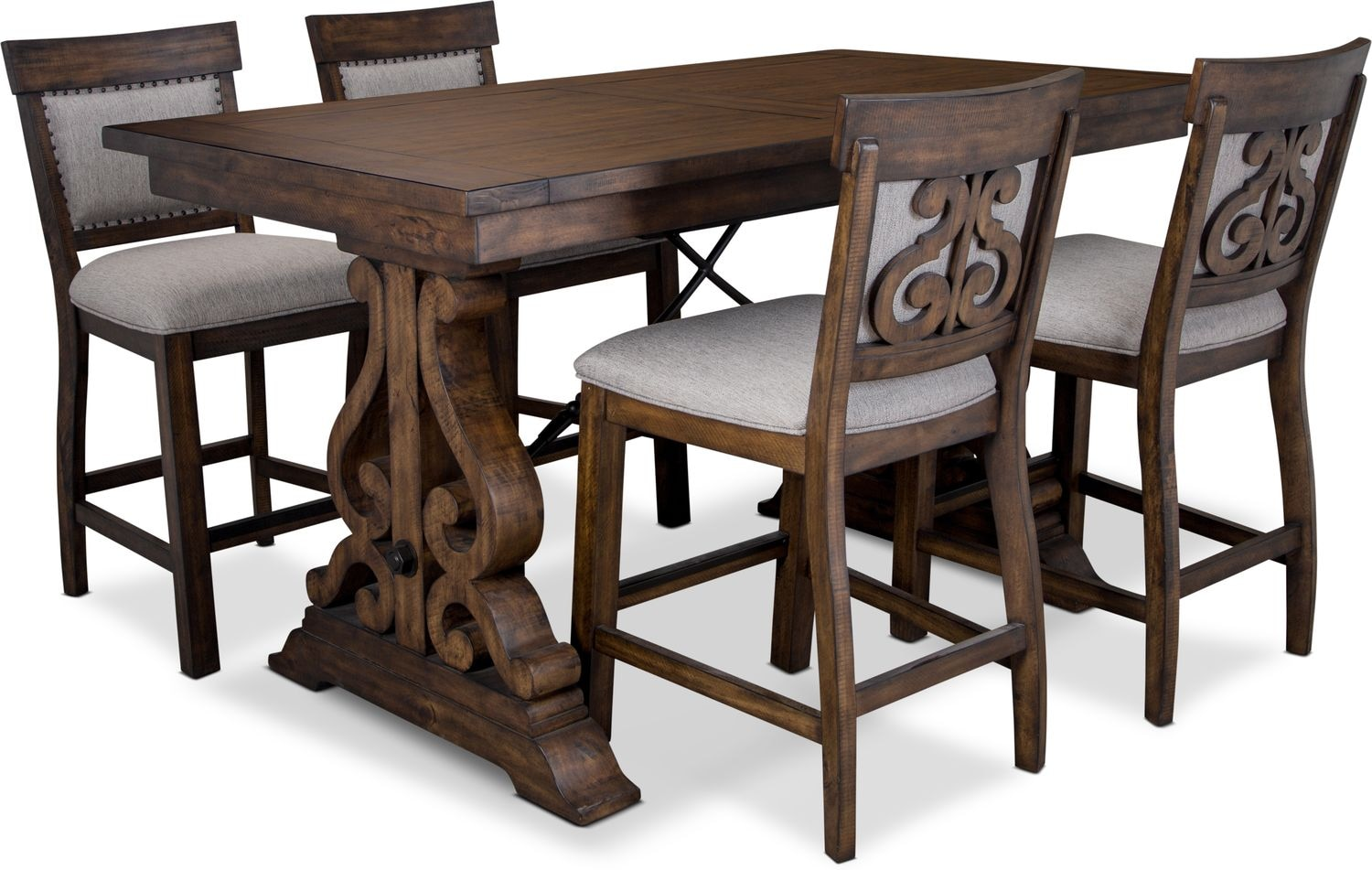Dining Room Furniture - Charthouse Counter-Height Dining Table and 4 Upholstered Stools