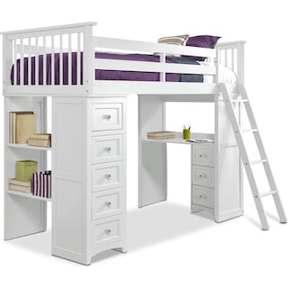 Flynn Twin Loft Bed with Desk and Chest - White
