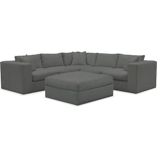 Collin Cumulus Performance 5-Piece Sectional with Ottoman - Peyton Pepper