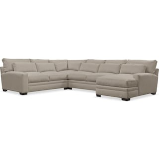 Winston Comfort Performance 4-Piece Sectional with Right-Facing Chaise   - Benavento Dove