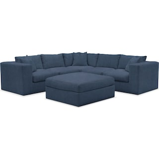 Collin Comfort Performance 5-Piece Sectional with Ottoman - Peyton Navy