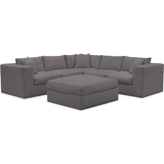 Collin Cumulus Performance 5-Piece Sectional with Ottoman - Benavento Stone