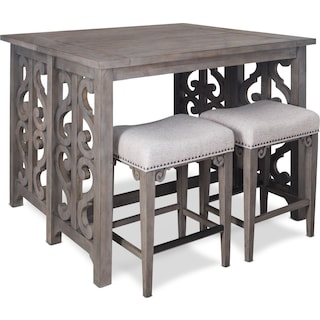 Charthouse Breakfast Bar and 2 Counter-Height Backless Stools - Gray