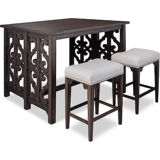 Charthouse Breakfast Bar and 2 Counter-Height Backless Stools - Charcoal