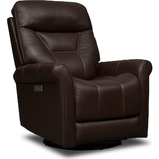Ace Dual-Power Swivel Recliner - Brown
