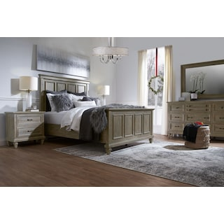 Harrison 6-Piece Queen Bedroom Set with Nightstand, Dresser and Mirror - Gray