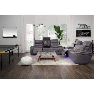 Jackson Triple-Power Reclining Sofa and Loveseat Set - Gray