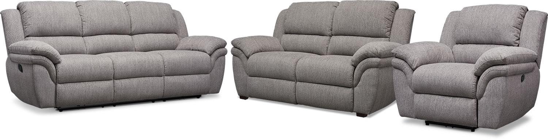 Living Room Furniture - Aldo Manual Reclining Sofa, Manual Recliner and Stationary Loveseat