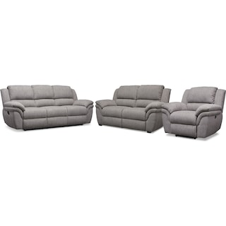 Aldo Manual Reclining Sofa, Stationary Loveseat + FREE RECLINER - Gray