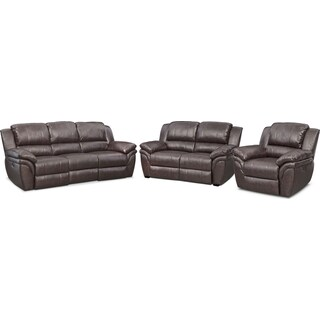 Aldo Power Reclining Sofa, Stationary Loveseat  + FREE RECLINER - Brown